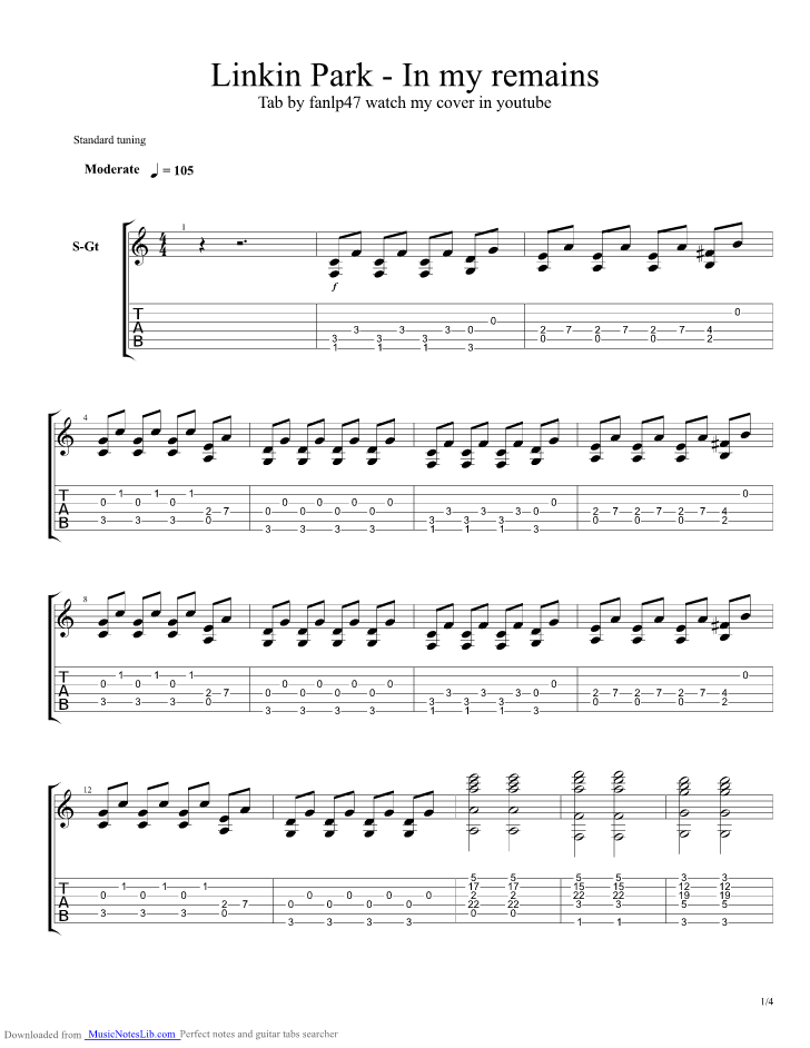 In My Remains Guitar Pro Tab By Linkin Park Musicnoteslib