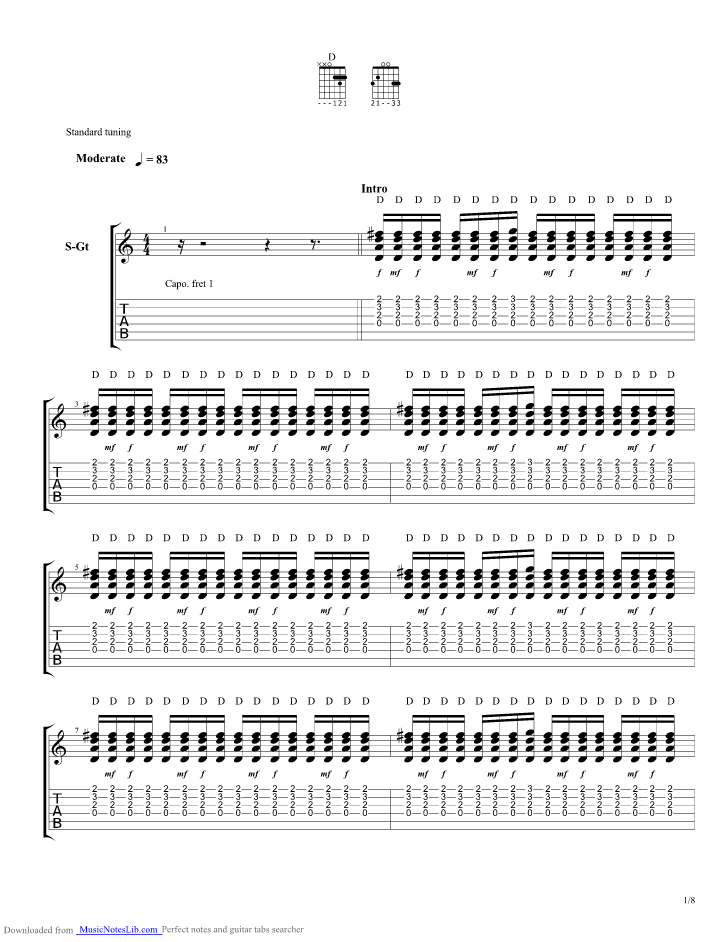White Flag guitar pro tab by Chris Tomlin @ musicnoteslib.com