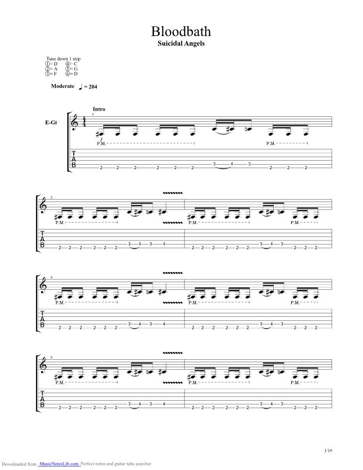 Bloodbath guitar pro tab by Suicidal Angels @ musicnoteslib.com
