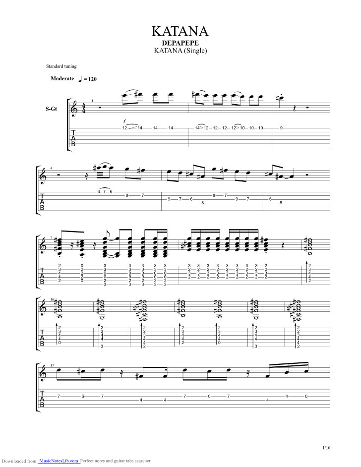 Katana Guitar Pro Tab By Depapepe Musicnoteslib