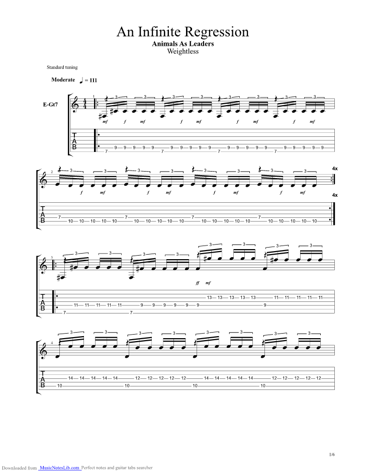 An Infinite Regression Guitar Pro Tab By Animals As Leaders Musicnoteslib Com