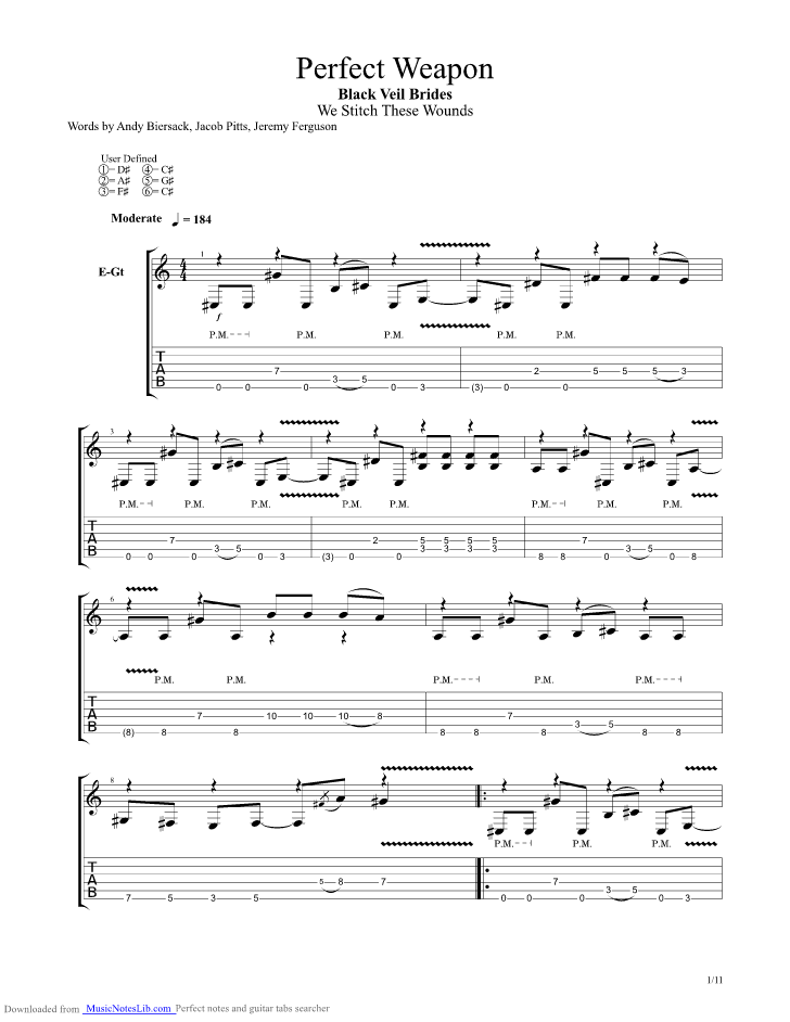Perfect Weapon Guitar Pro Tab By Black Veil Brides Musicnoteslib