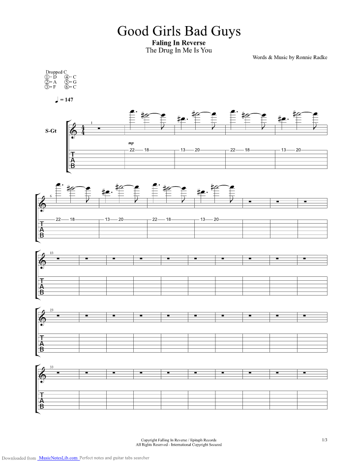 Good Girls Bad Guys Guitar Pro Tab By Falling In Reverse