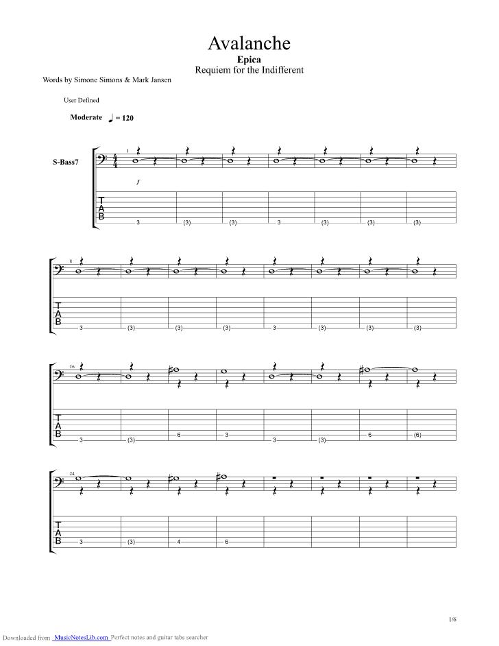 Avalanche guitar pro tab by Epica @ musicnoteslib.com