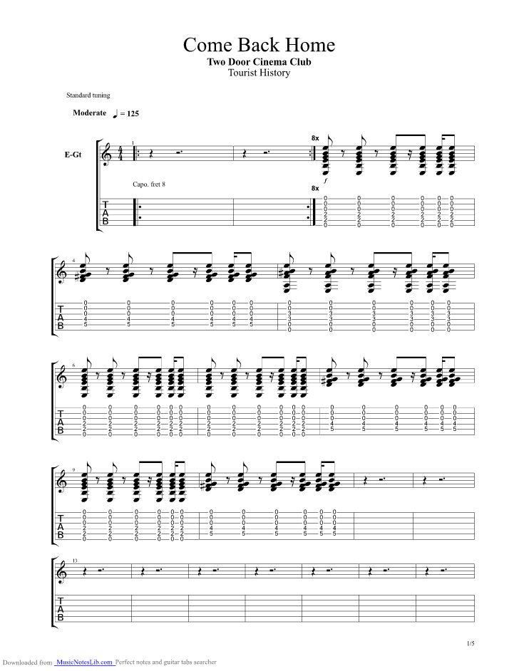Come Back Home guitar pro tab by Two Door Cinema Club ...