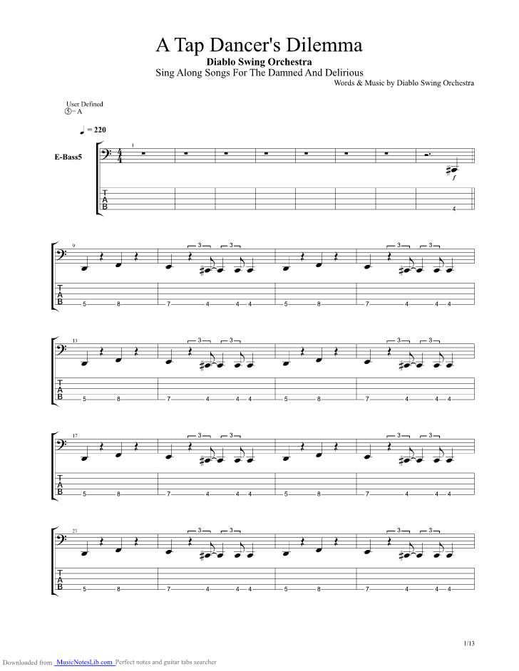 A Tap Dancers Dilemma Guitar Pro Tab By Diablo Swing Orchestra