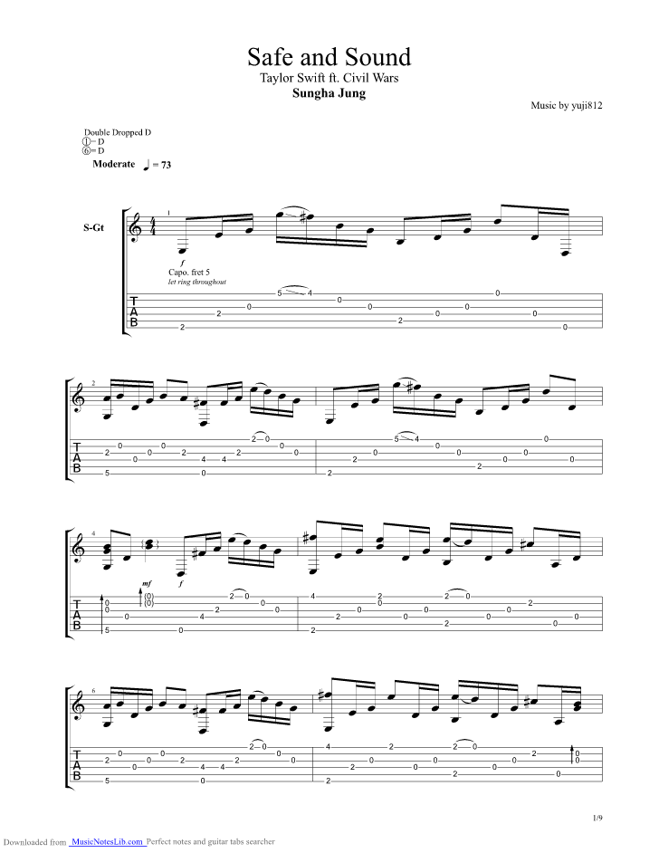 Safe And Sound guitar pro tab by Sungha Jung @ musicnoteslib.com