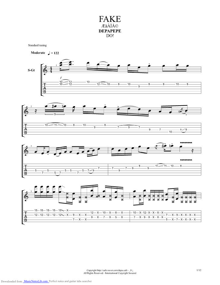Fake Guitar Pro Tab By Depapepe Musicnoteslib