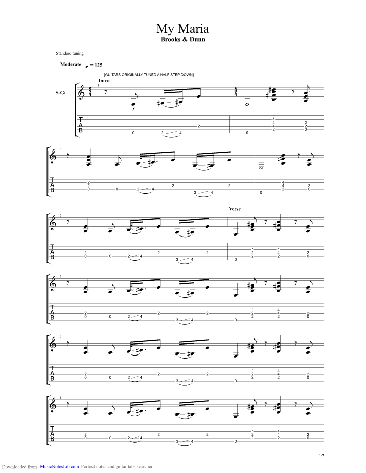 My Maria Guitar Pro Tab By Brooks And Dunn Musicnoteslib
