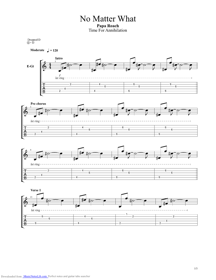 No Matter What Guitar Pro Tab By Papa Roach Musicnoteslib