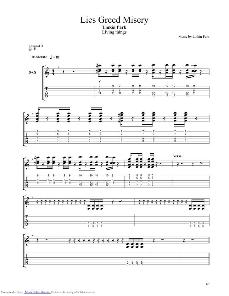 Lies Greed Misery Guitar Pro Tab By Linkin Park Musicnoteslib