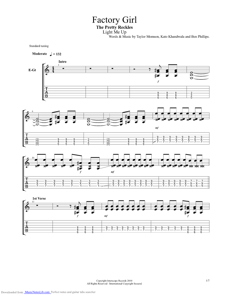 Factory Girl guitar pro tab by The Pretty Reckless @ musicnoteslib.com