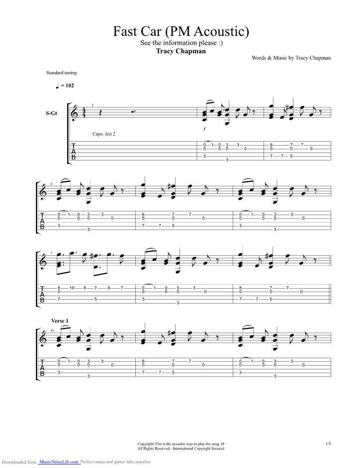 Fast Car Acoustic Guitar Pro Tab By Tracy Chapman Musicnoteslibcom - Tracy chapman fast car guitar