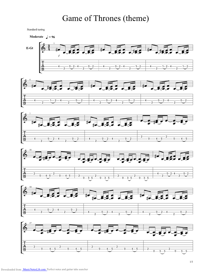 Game Of Thrones A Song Of Ice And Fire Guitar Pro Tab By Misc