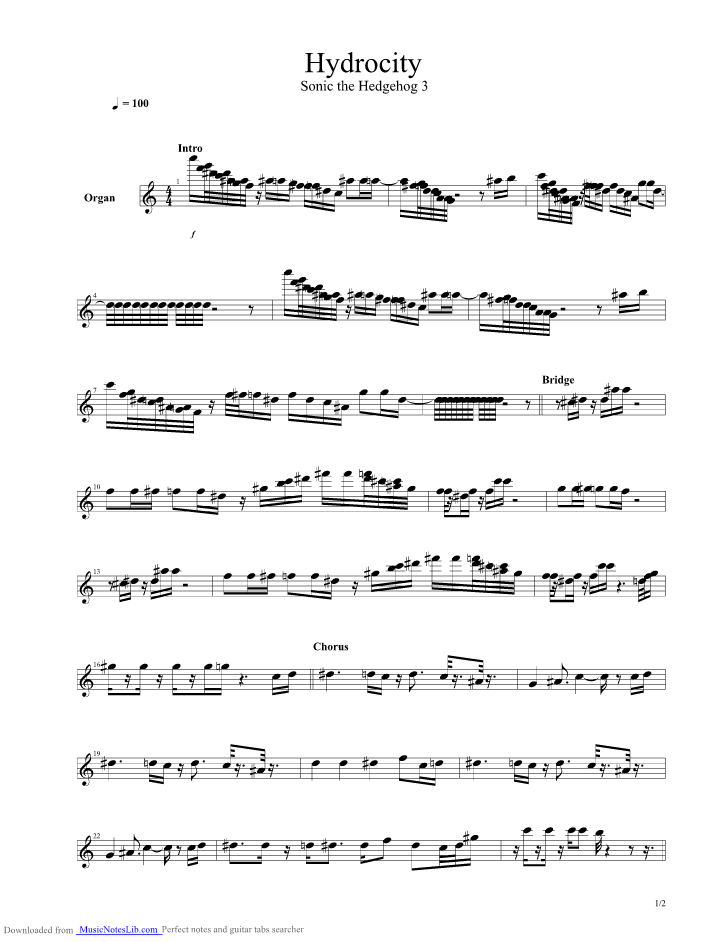 Sonic The Hedgehog 3 Hydrocity Zone Guitar Pro Tab By Misc Computer Games Musicnoteslib Com