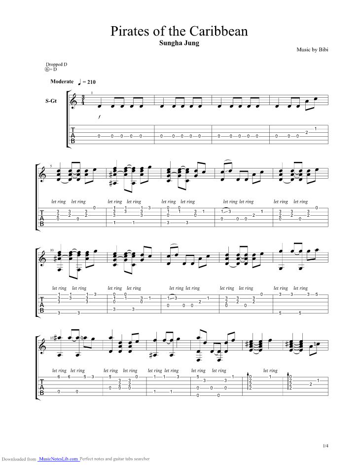Pirates Of The Caribbean guitar pro tab by Sungha Jung @ musicnoteslib.com