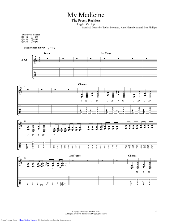 My Medicine Guitar Pro Tab By The Pretty Reckless Musicnoteslib