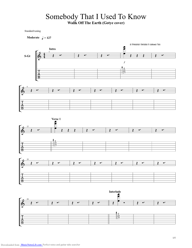 Somebody That I Used To Know guitar pro tab by Walk Off The Earth ...