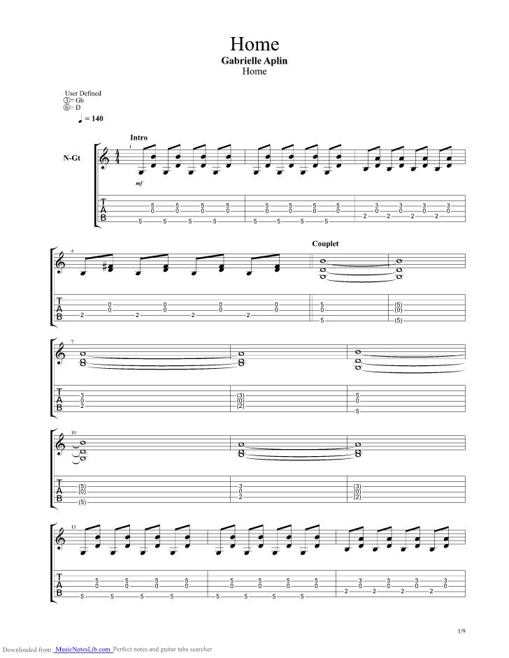 Home guitar pro tab by Gabrielle Aplin @ musicnoteslib.com