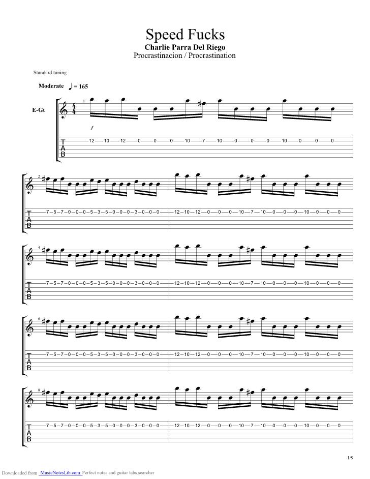 Speed Fucks Guitar Pro Tab By Charlie Parra Musicnoteslib