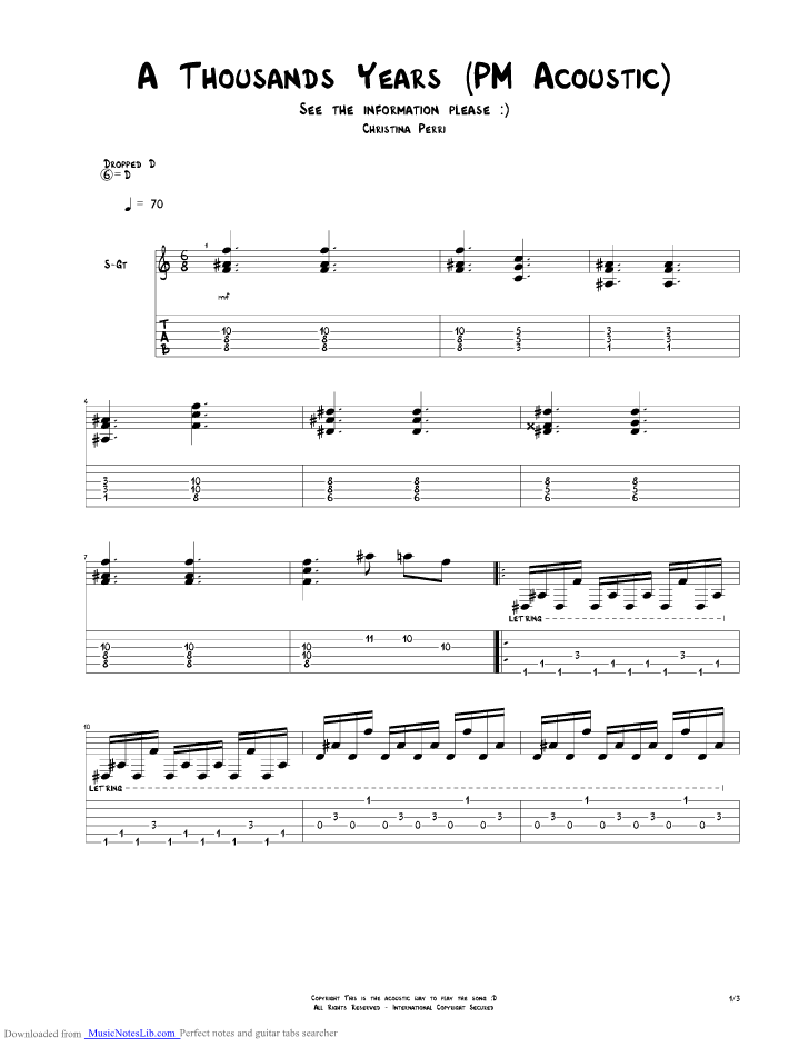 A Thousand Years Acoustic guitar pro tab by Christina Perri @ musicnoteslib.com