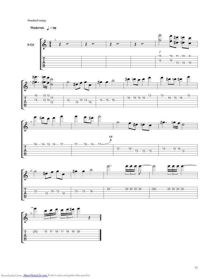 Gargoyles Theme guitar pro tab by Misc Cartoons @ musicnoteslib.com