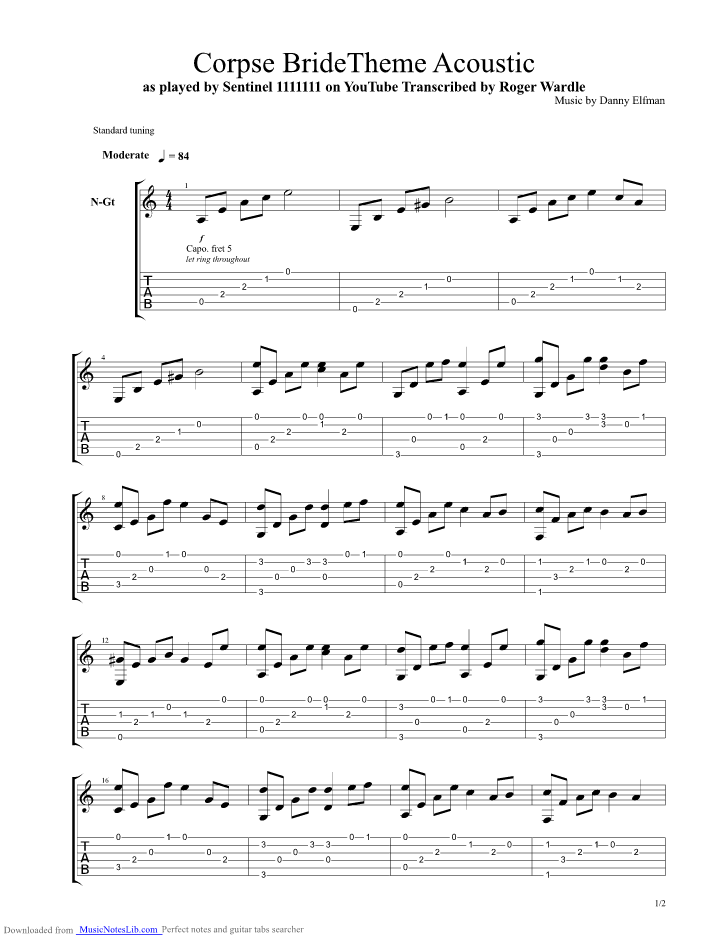 ... guitar pro tab by Nightmare Before Christmas @ musicnoteslib.com