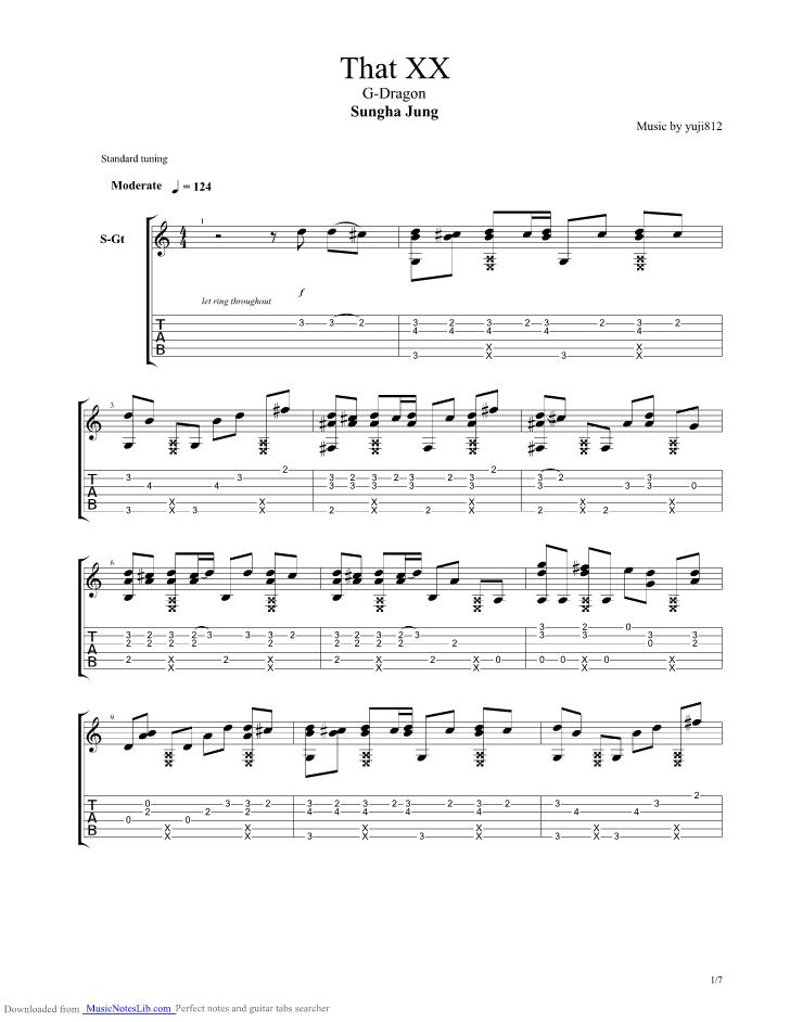 That Xx guitar pro tab by Sungha Jung @ musicnoteslib.com
