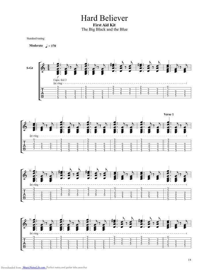 Hard Believer Guitar Pro Tab By First Aid Kit Musicnoteslib