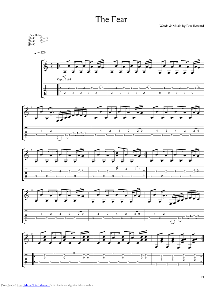 The Fear guitar pro tab by Ben Howard @ musicnoteslib.com