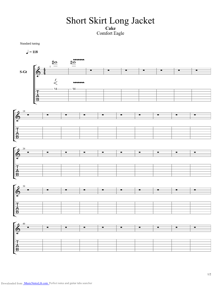 Short Skirt Long Jacket guitar pro tab by CAKE @ musicnoteslib.com