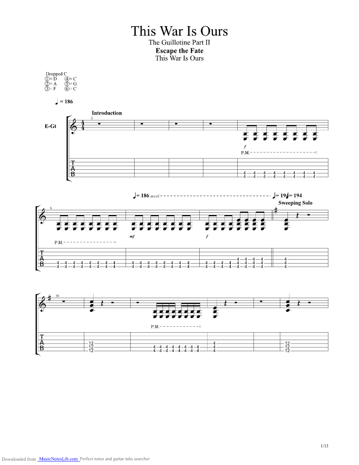 This War Is Ours Guitar Pro Tab By Escape The Fate Musicnoteslib