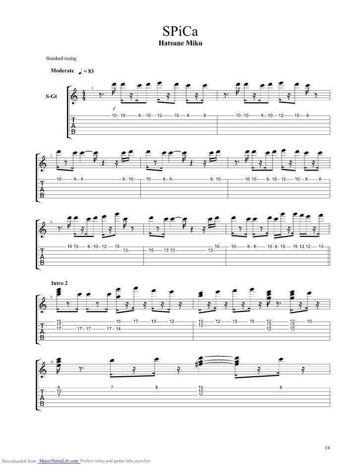 Spica Guitar Pro Tab By Miku Hatsune Musicnoteslib