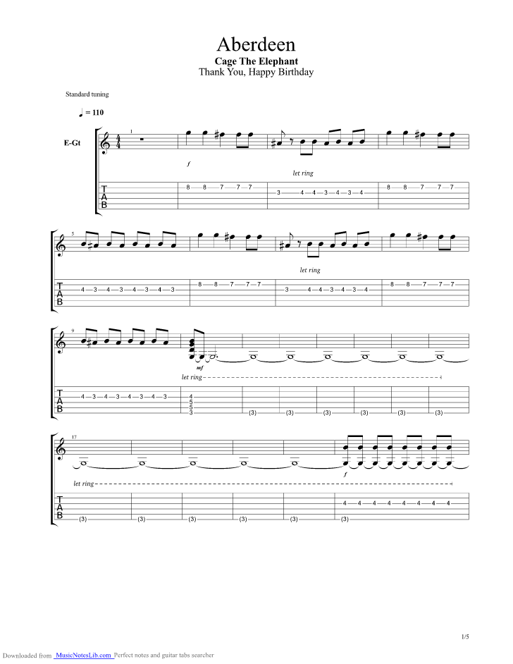 Aberdeen guitar pro tab by Cage The Elephant @ musicnoteslib.com