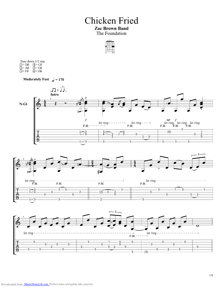 Chicken Fried guitar pro tab by Zac Brown Band @ musicnoteslib.com