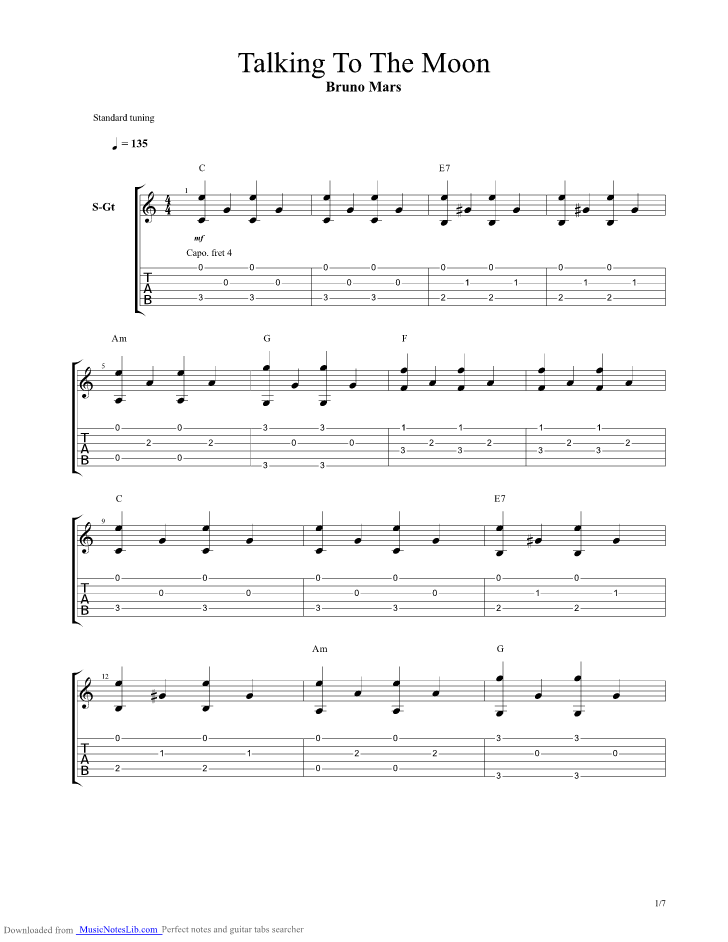 Talking To The Moon Guitar Pro Tab By Bruno Mars Musicnoteslib