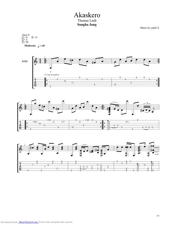 Akaskero Guitar Pro Tab By Sungha Jung Musicnoteslib