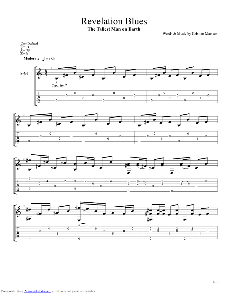 Revelation Blues guitar pro tab by The Tallest Man On Earth ...