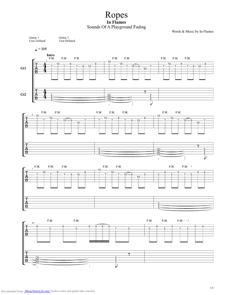 Alone on the rope guitar tab