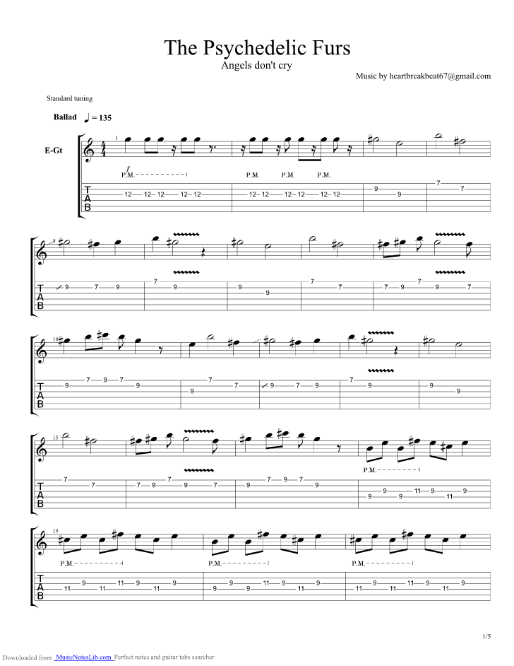 Angels Dont Cry Guitar Pro Tab By Psychedelic Furs Musicnoteslib