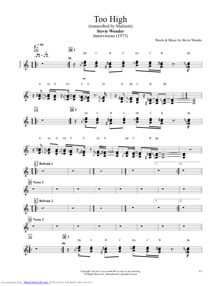 Too High Guitar Pro Tab By Stevie Wonder Musicnoteslib