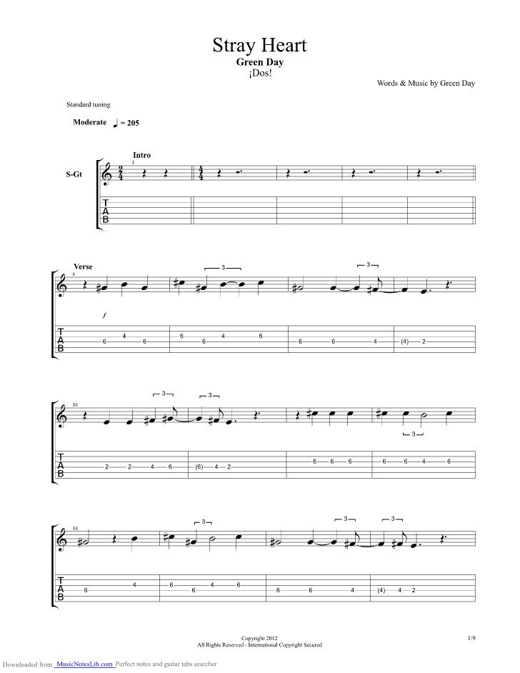 Stray Heart Guitar Pro Tab By Green Day Musicnoteslib