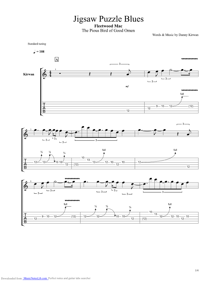 Jigsaw Puzzle Blues Guitar Pro Tab By Fleetwood Mac Musicnoteslib