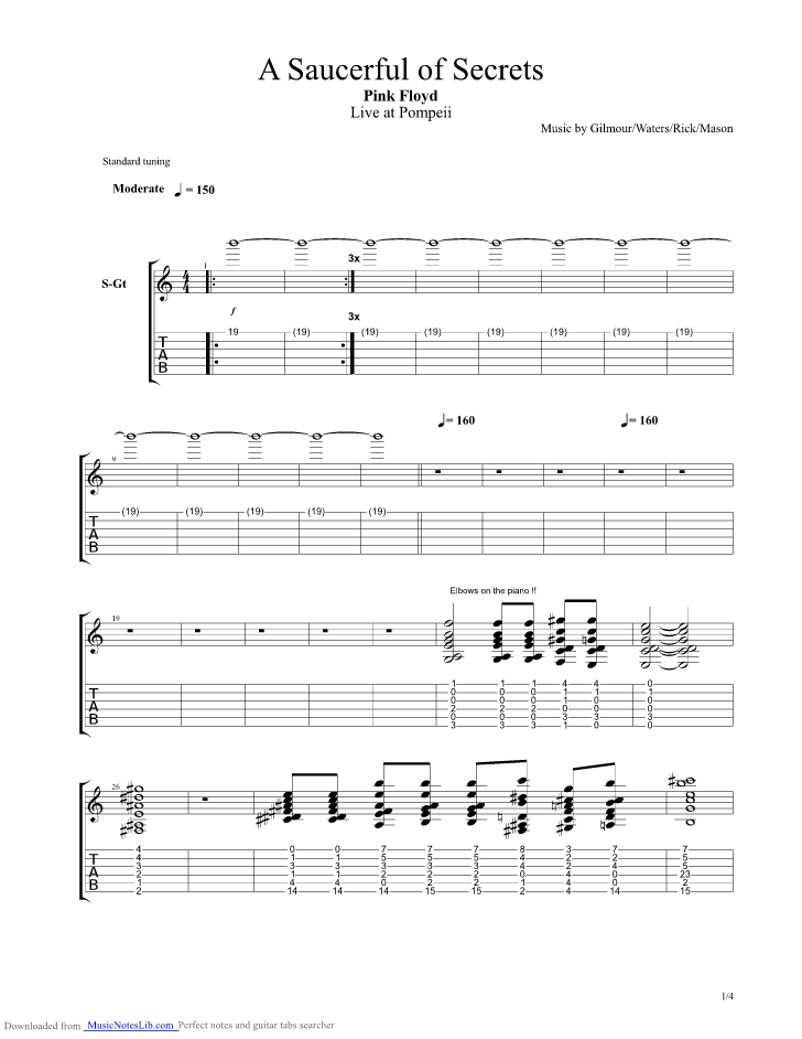A Saucerful Of Secrets Guitar Pro Tab By Pink Floyd Musicnoteslib
