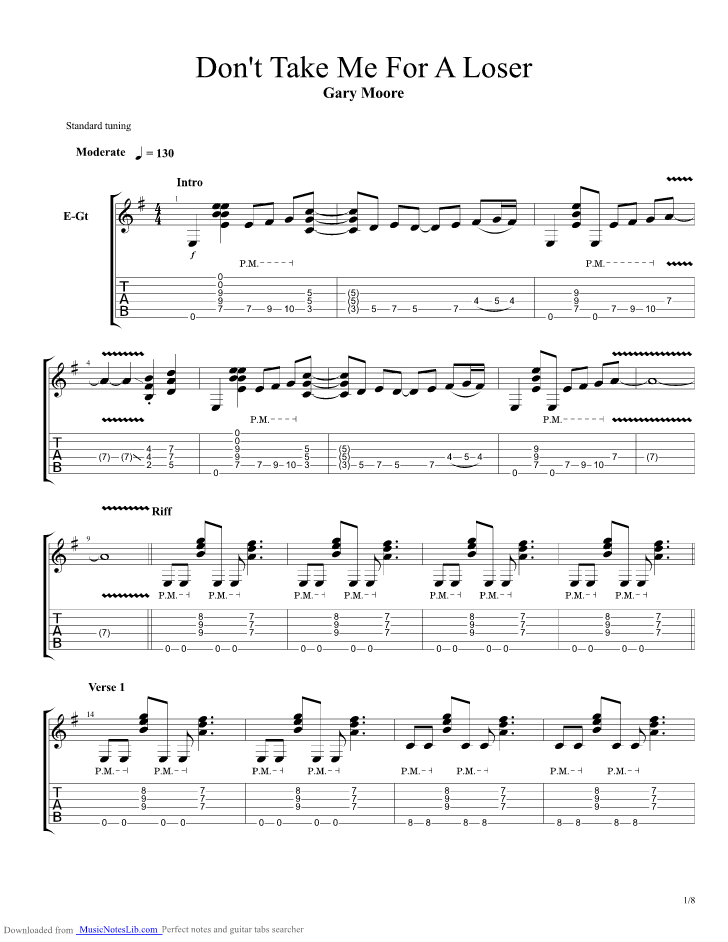 Dont Take Me For A Loser Guitar Pro Tab By Gary Moore