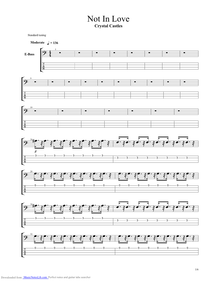 Not In Love guitar pro tab by Crystal Castles @ musicnoteslib.com
