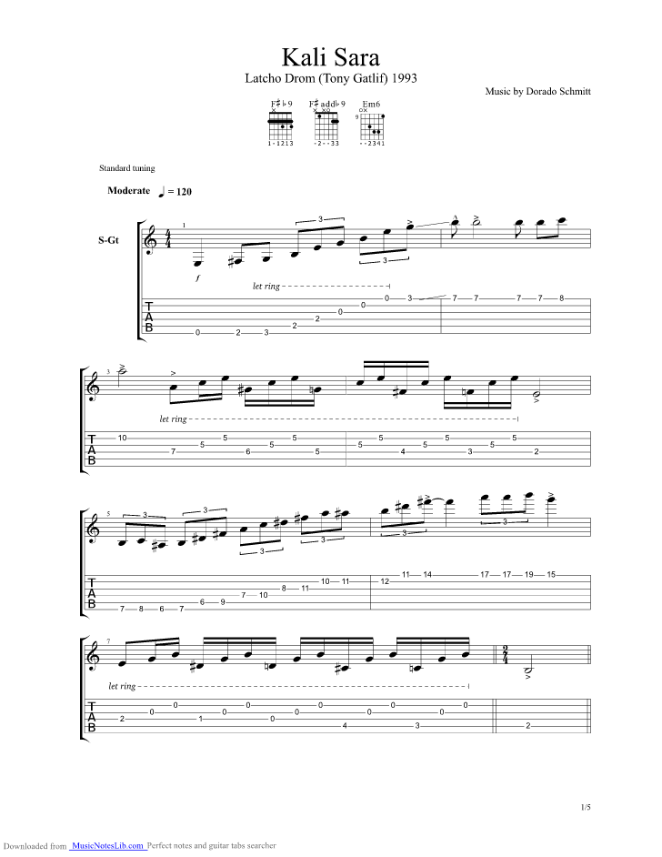 Kali Sara guitar pro tab by Dorado Schmitt @ musicnoteslib.com