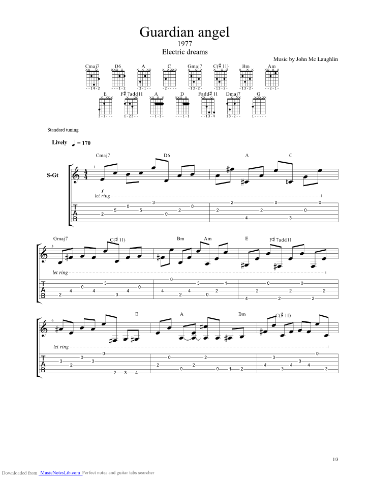 Guardian Angel Guitar Pro Tab By John Mclaughlin Musicnoteslib