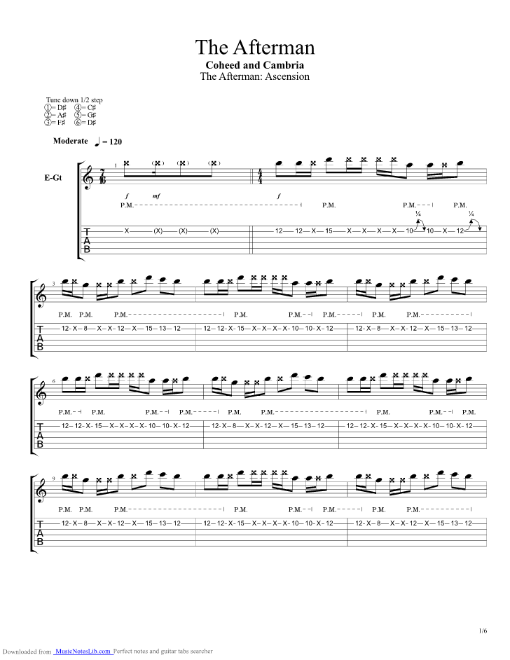 The Afterman guitar pro tab by Coheed and Cambria