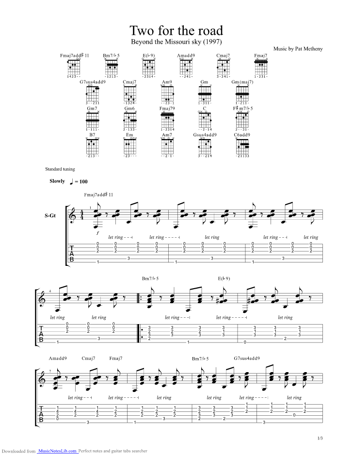 two for the road guitar pro tab by pat metheny musicnoteslib